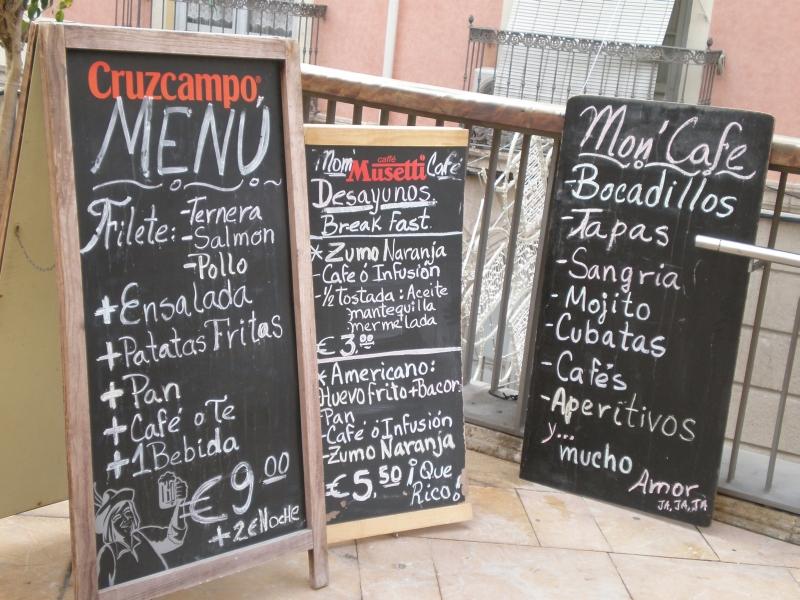 Alicante - menu